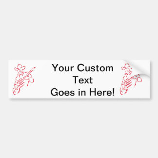 guitar player outline cowboy red.png bumper sticker