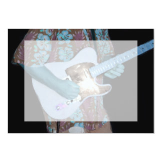guitar player painting blue neat abstract musician 5x7 paper invitation card