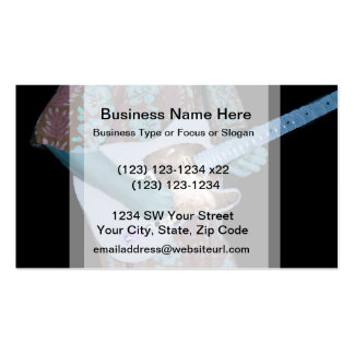 guitar player painting blue neat abstract musician Double-Sided standard business cards (Pack of 100)