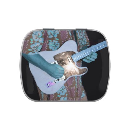 guitar player painting blue neat abstract musician candy tin