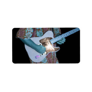guitar player painting blue neat abstract musician labels