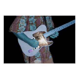 guitar player painting blue neat abstract musician print