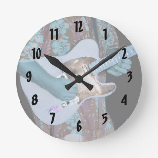 guitar player painting blue neat abstract musician round wall clocks