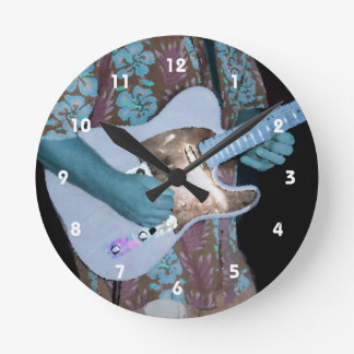 guitar player painting blue neat abstract musician round wallclocks