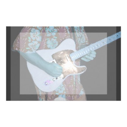 guitar player painting blue neat abstract musician stationery design