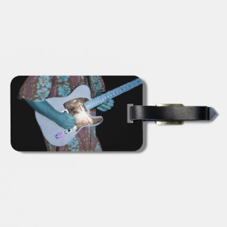 guitar player painting blue neat abstract musician tag for luggage
