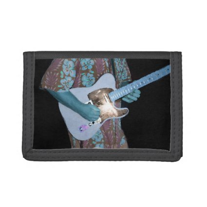 guitar player painting blue neat abstract musician tri-fold wallets