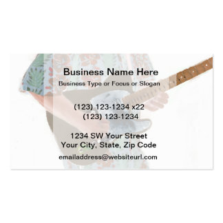 guitar player painting invert music design Double-Sided standard business cards (Pack of 100)