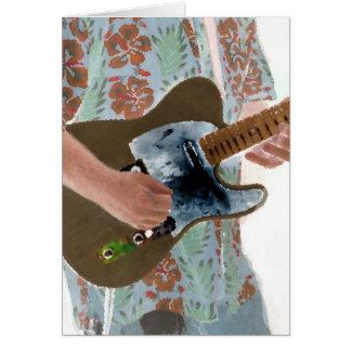 guitar player painting invert music design card