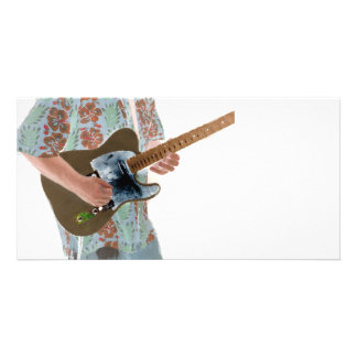 guitar player painting invert music design customized photo card