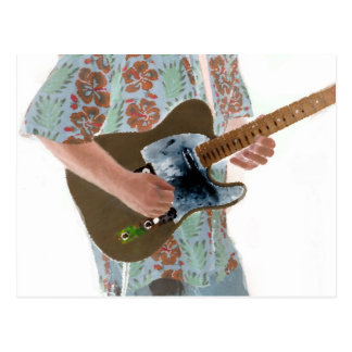 guitar player painting invert music design postcard