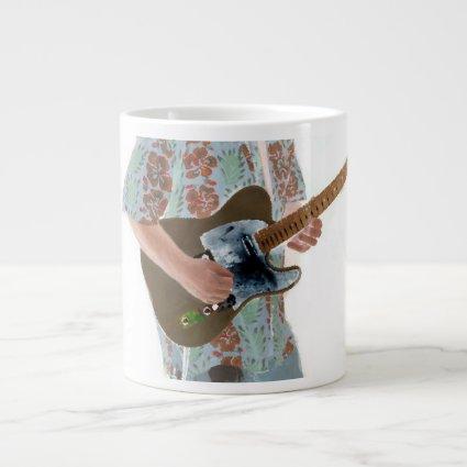 guitar player painting invert music design jumbo mugs
