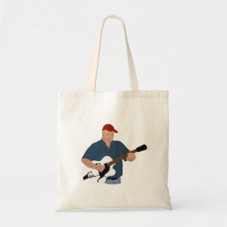 Guitar Player Painting Semi Hollow Red Hat Blue Sh Tote Bags