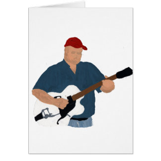 Guitar Player Painting Semi Hollow Red Hat Blue Sh Card