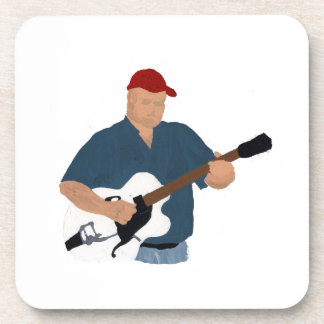 Guitar Player Painting Semi Hollow Red Hat Blue Sh Drink Coaster