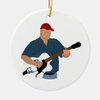 Guitar Player Painting Semi Hollow Red Hat Blue Sh Double-Sided Ceramic Round Christmas Ornament