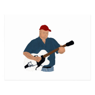 Guitar Player Painting Semi Hollow Red Hat Blue Sh Postcard