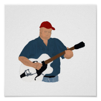 Guitar Player Painting Semi Hollow Red Hat Blue Sh Print