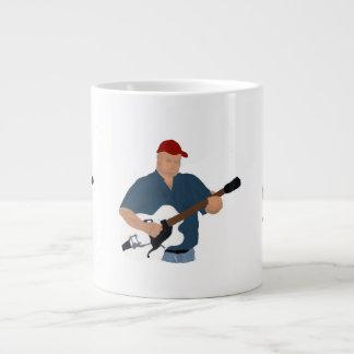 Guitar Player Painting Semi Hollow Red Hat Blue Sh Jumbo Mugs