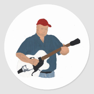 Guitar Player Painting Semi Hollow Red Hat Blue Sh Sticker