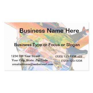Guitar player,  psychadelic colors music design Double-Sided standard business cards (Pack of 100)
