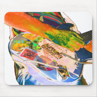 Guitar player,  psychadelic colors music design mouse pad