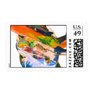 Guitar player psychadelic colors music design postage stamp