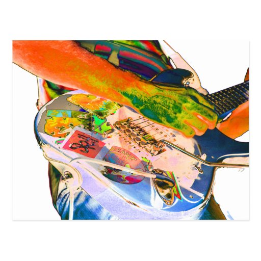 Guitar player,  psychadelic colors music design post cards