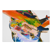 Guitar player,  psychadelic colors music design posters