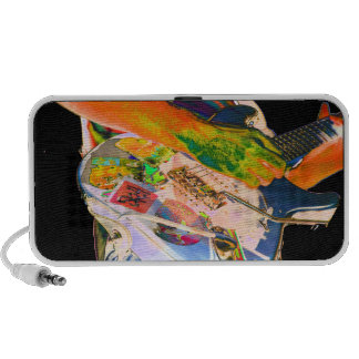 Guitar player psychadelic colors music design travelling speaker