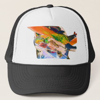 Guitar player,  psychadelic colors music design trucker hat