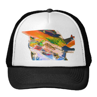 Guitar player,  psychadelic colors music design trucker hat