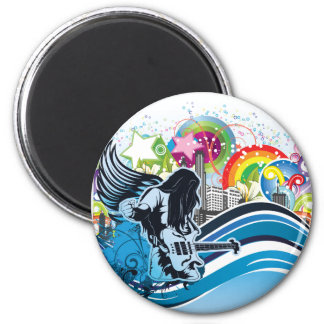 Guitar Player ~ Rock Heavy Metal Band Music 2 Inch Round Magnet
