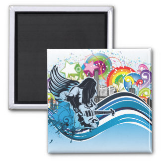 Guitar Player ~ Rock Heavy Metal Band Music 2 Inch Square Magnet