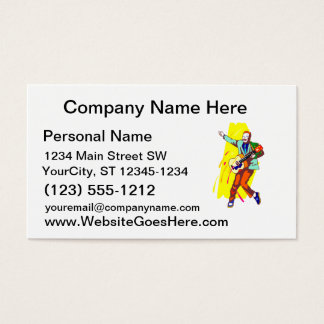 Guitar Player Rockabilly Graphic Image Design Business Card