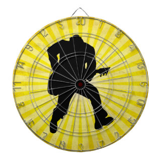 Guitar Player Silhouette Dartboard With Darts