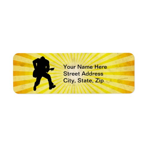 Guitar Player Silhouette Return Address Label