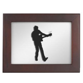 Guitar Player Silver Keepsake Box