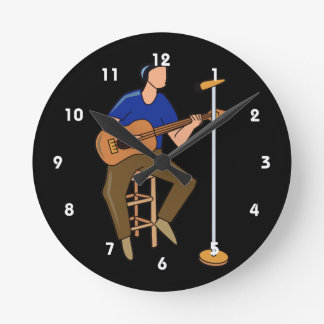 guitar player sitting abstract mic blue.png round clock