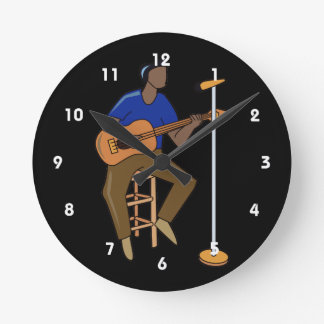 guitar player sitting abstract mic drk.png round wall clock