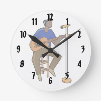 guitar player sitting abstract mic drk.png round wallclocks