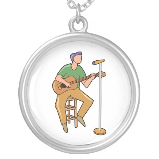guitar player sitting abstract mic.png round pendant necklace