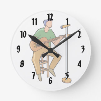 guitar player sitting abstract mic.png round wall clocks