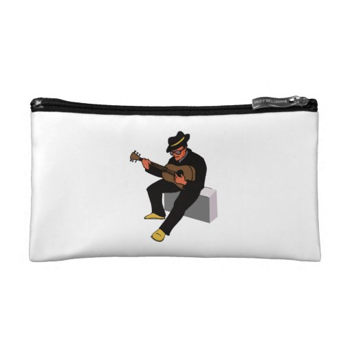 guitar player sitting on amp blues black.png cosmetic bag