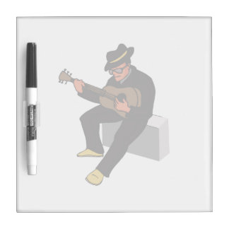 guitar player sitting on amp blues black.png dry erase board