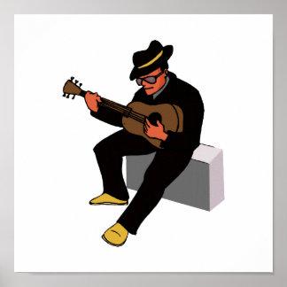 guitar player sitting on amp blues black.png print