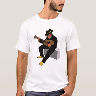 guitar player sitting on amp blues black.png T-Shirt