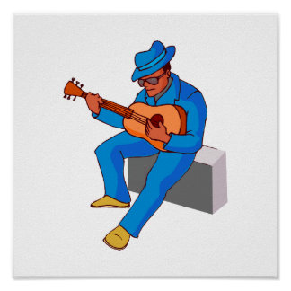 guitar player sitting on amp blues blue.png posters