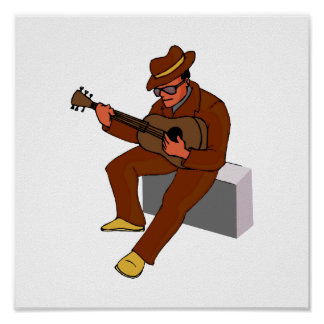 guitar player sitting on amp blues brown.png poster