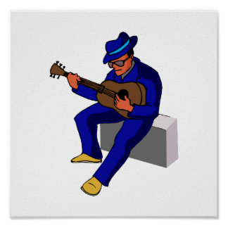 guitar player sitting on amp blues d blue.png poster